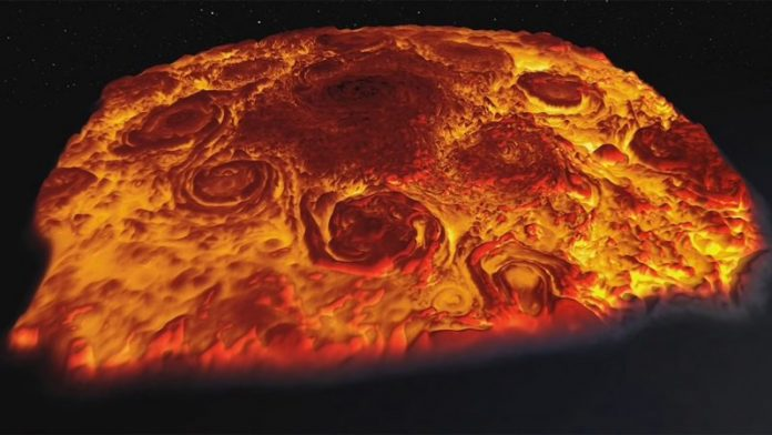 Watch: Flyover of Jupiter's north pole in infrared