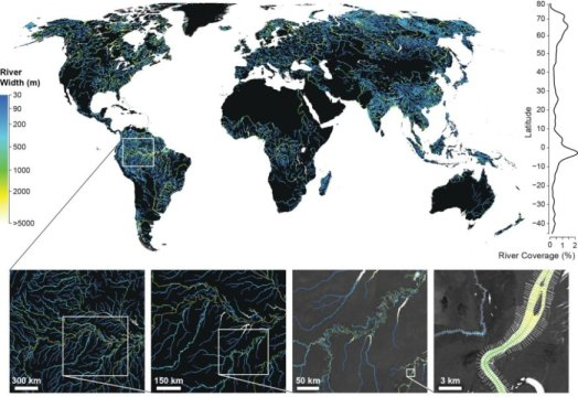 Earth surface covered by rivers and streams 45 pc higher than thought