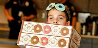 Tyler Carach delivers donuts to police officers across America
