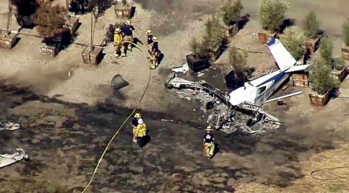 California airfield plane crash: one person was killed and another injured