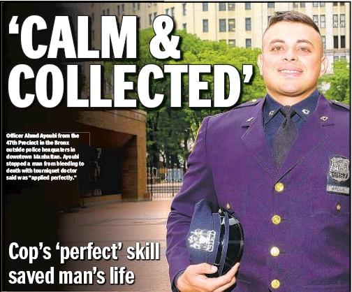 Bronx cop Ahmd Ayoubi nominated for saving bleeding man's life
