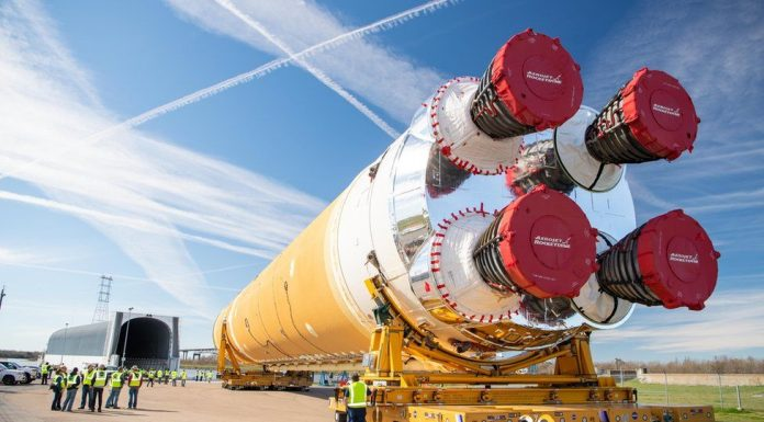 Watch: Nasa Moon rocket core leaves for testing