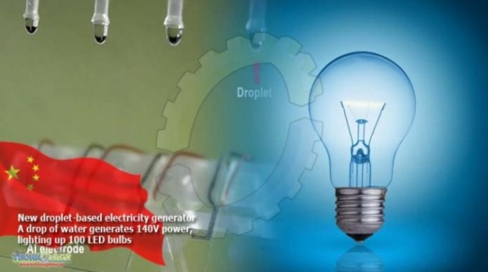 A drop of water generates 140V power, lighting up 100 LED bulbs