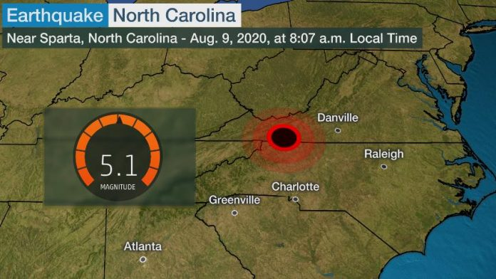 Earthquake in North Carolina today, most powerful in the state since 1916